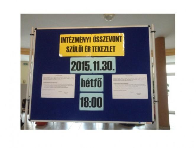 Intézményi összevont szülői értekezlet: 2015.11.30., hétfő